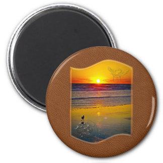 Ocean Sunrise Reflected on Beach Indian Brave Art 6 Cm Round Magnet
