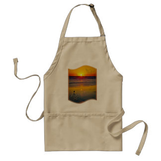Ocean Sunrise Reflected on Beach Indian Brave Art Apron