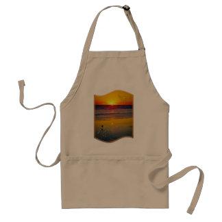Ocean Sunrise Reflected on Beach Indian Brave Art Standard Apron