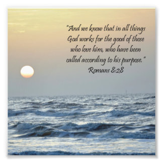Ocean Sunrise Romans 8:28 Scripture Print