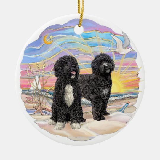 Ocean Sunrise - Two Portuguese Water Dogs Christmas