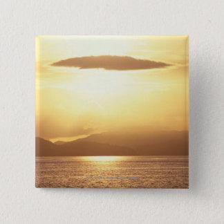 Ocean sunset 15 cm square badge