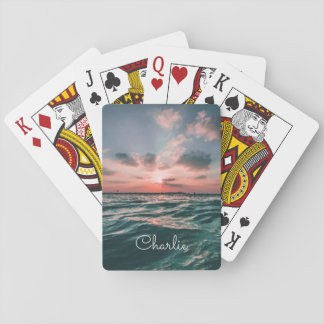 Ocean Sunset custom name playing cards