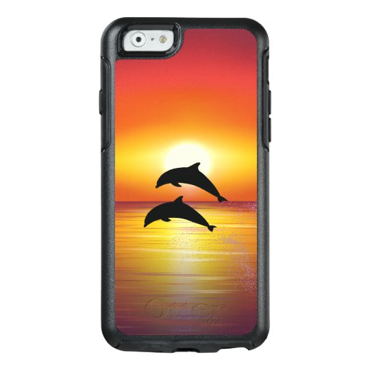Ocean Sunset Dolphins Couple Playing Love OtterBox iPhone