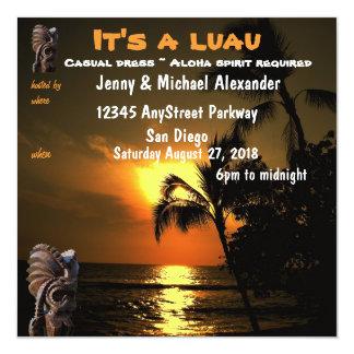 Ocean Sunset Hawaiian Luau Tiki 13 Cm X 13 Cm Square Invitation Card
