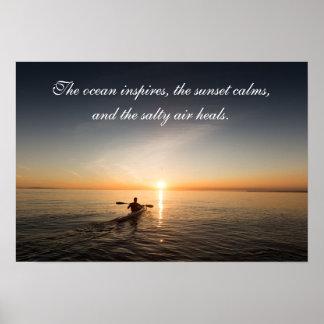 Ocean Sunset Kayak Canoe Inspirational Quote Poste Poster