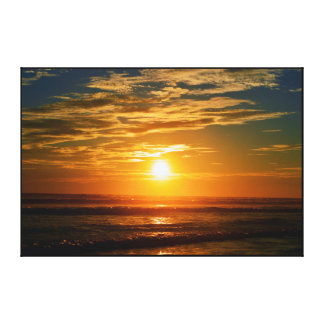 OCEAN SUNSET LANDSCAPE, GOLDEN DELICIOUS SHORE CANVAS PRINT