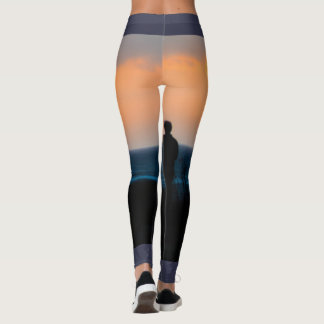 Ocean Sunset leggings with blue