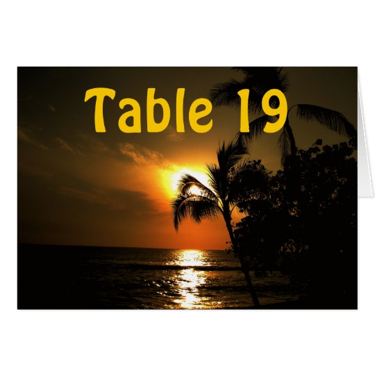 Ocean Sunset Numbered Table Card