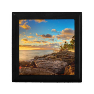 Ocean Sunset Over Rocks And Palm | O'Ahu Small Square Gift Box