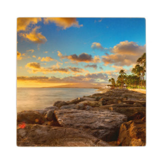 Ocean Sunset Over Rocks And Palm | O'Ahu Wood Coaster