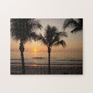 Ocean Sunset Palm Trees Florida Photography Puzzle