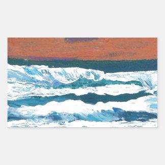 Ocean Sunset Waves Rectangular Sticker