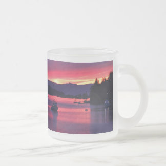 Ocean Sunset with Boats in Harbor Coffee Mug