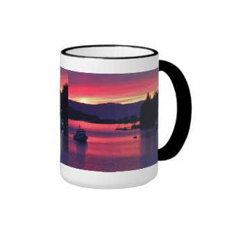Ocean Sunset with Boats in Harbor Mugs