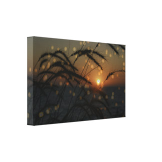 Ocean Sunset with Sea Grass Canvas Print