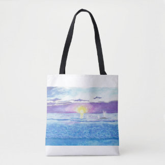 Ocean Sunset with Whales Watercolor Bag