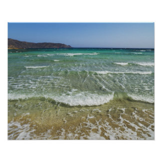 Ocean surf at Elafonisi Beach - Europe, Greece, Poster