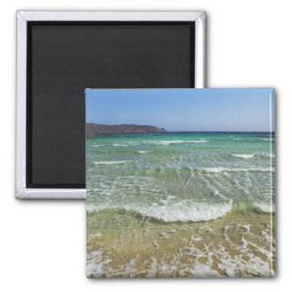 Ocean surf at Elafonisi Beach - Europe, Greece, Square Magnet