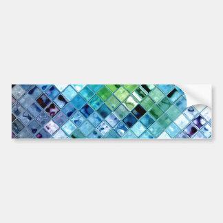 Ocean Teal Glass Mosaic Tile Art Bumper Sticker