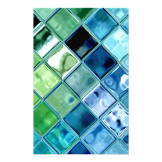 Ocean Teal Glass Mosaic Tile Art Customised Stationery
