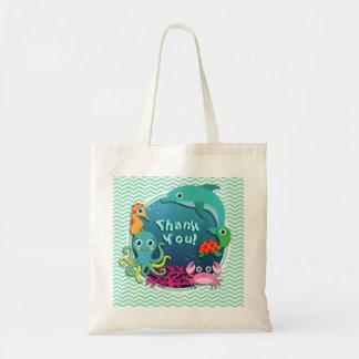 Ocean Theme Baby Shower Aqua Green Chevron Tote Bag