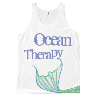 Ocean Therapy by Mostly Mermaid Designs- Fun Gift All-Over Print Tank Top