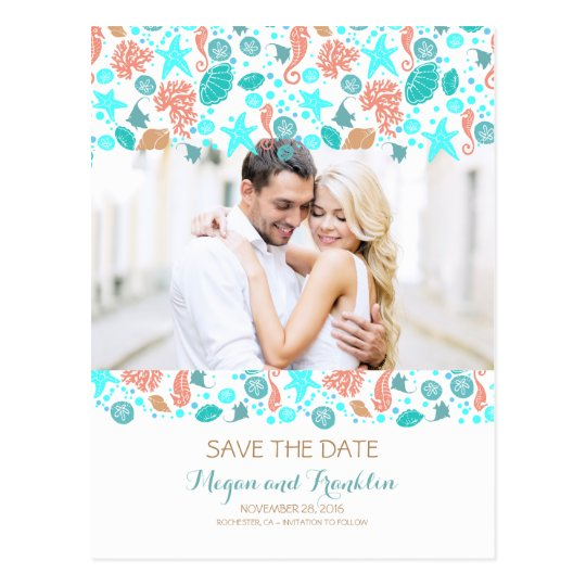 Ocean Treasures Nautical Beach Photo Save the Date