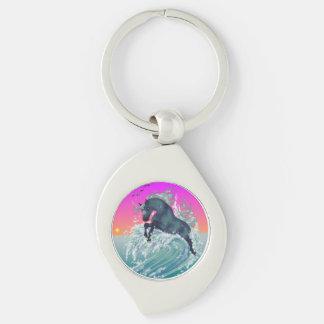 Ocean Unicorn Swirl Keychain Silver-Colored Swirl Key Ring