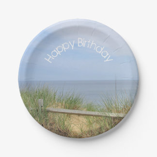 Ocean View and beach fence Paper Plate