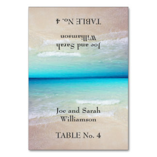 Ocean View Beach Themed Tented Escort Cards