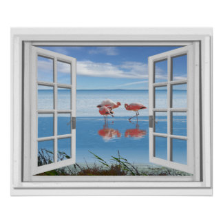 Ocean View Fake Window With Flamingos On Beach Poster