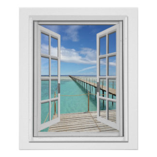 Ocean View Faux Window Poster