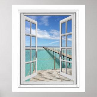 Ocean View Faux Window Poster