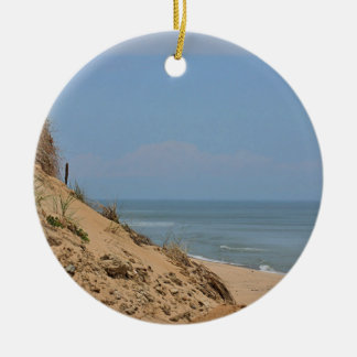 Ocean view from the bluff round ceramic decoration