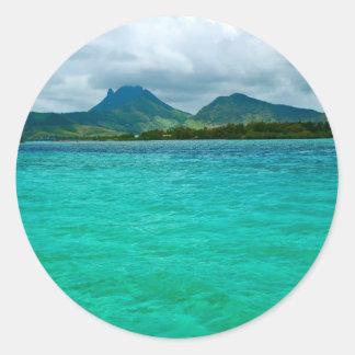 Ocean view in Mauritius Classic Round Sticker