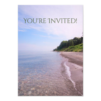 Ocean View, Lake Michigan Beach Shoreline 13 Cm X 18 Cm Invitation Card