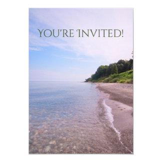 Ocean View, Lake Michigan Beach Shoreline 13 Cm X 18 Cm Invitation Card