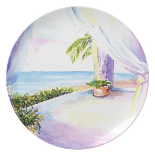 Ocean View through the Window - Watercolor Plate