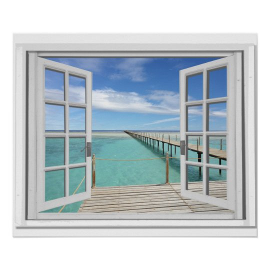 Ocean View Trompe l'oeil Fake Window Poster