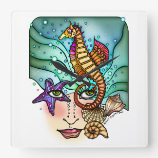 OCEAN VISIONS SEA ART SQUARE WALL CLOCK