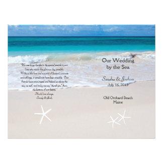 Ocean Water & Beach Sand Wedding Program Template 21.5 Cm X 28 Cm Flyer