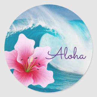 Ocean Wave and Pink Orchid - Round Stickers