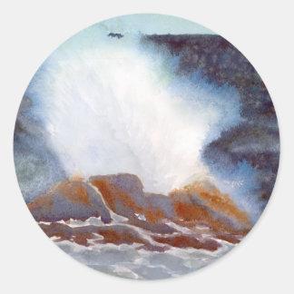 Ocean Wave Card Round Sticker