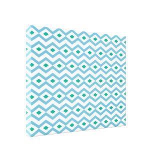 Ocean Wave Diamond Zigzag Canvas Stretched Canvas Print