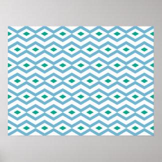 Ocean Wave Diamond Zigzag Poster