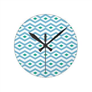 Ocean Wave Diamond ZigZag Round Clock