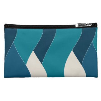 Ocean Wave Inspired Water Sea Nautical Navy Teal Cosmetic Bags