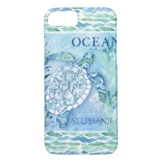 Ocean Wave Modern Triangle Pattern Sea Turtle iPhone 8/7 Case