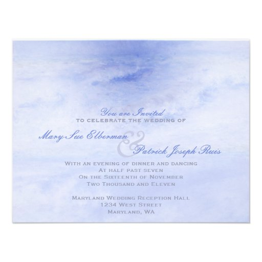 Ocean Wave: Pale Blue Evening Only Small Wedding Custom Invite